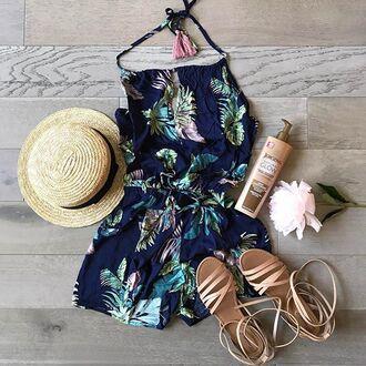 dress halter tie tropical leaves romper
