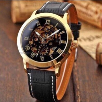 jewels black leather watch gold
