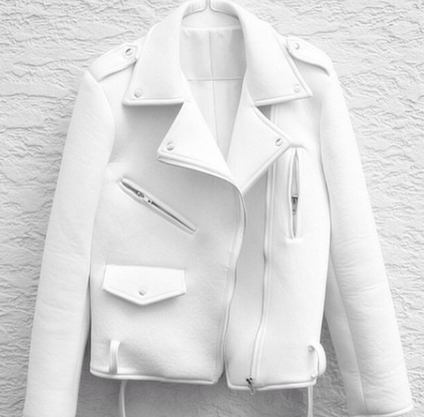 jacket white biker jacket neoprene white jacket
