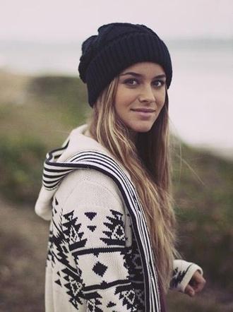 sweater geometric print boyfriend cardigan oversized sweater tribal pattern jacket native style black and white
