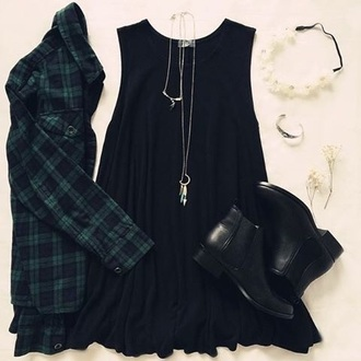 shirt dress green jacket black dress black
