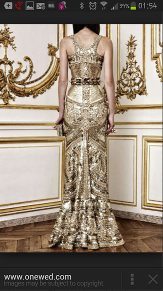gold sequins gown
