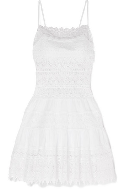 Charo Ruiz - Joya Crocheted Lace Cotton-blend Mini Dress - White