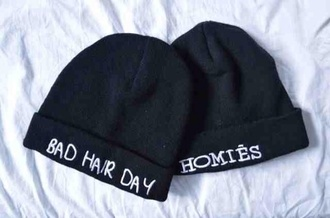 hat bad hair day hipster beanie tumblr black homies hat beanie hair accessories white swag black and white badhairday cool homies beanie fashion hats