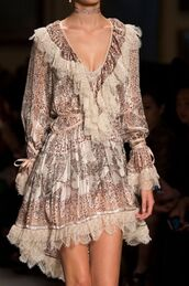 dress,frilly,ruffle,etro,pattern,lace,silk,choker necklace,runway,model,long sleeves,v neck,v neck dress