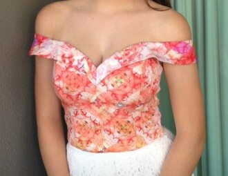 top off the shoulder off the shoulder top crop tops cropped floral tank top pattern pink coral going out