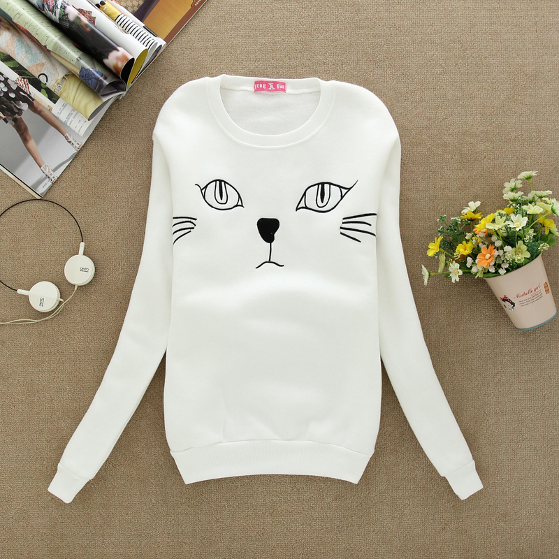 S40 Cat Head Embroidery Loose Pullover Jumper/Animal Print Hoodies Sweatshirt Women Pullover Sweater Long Sleeve tracksuits-in Hoodies & Sweatshirts from Apparel & Accessories on Aliexpress.com | Alibaba Group