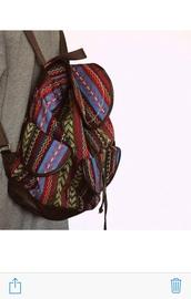 bag,backpack,ethno,print,aztek