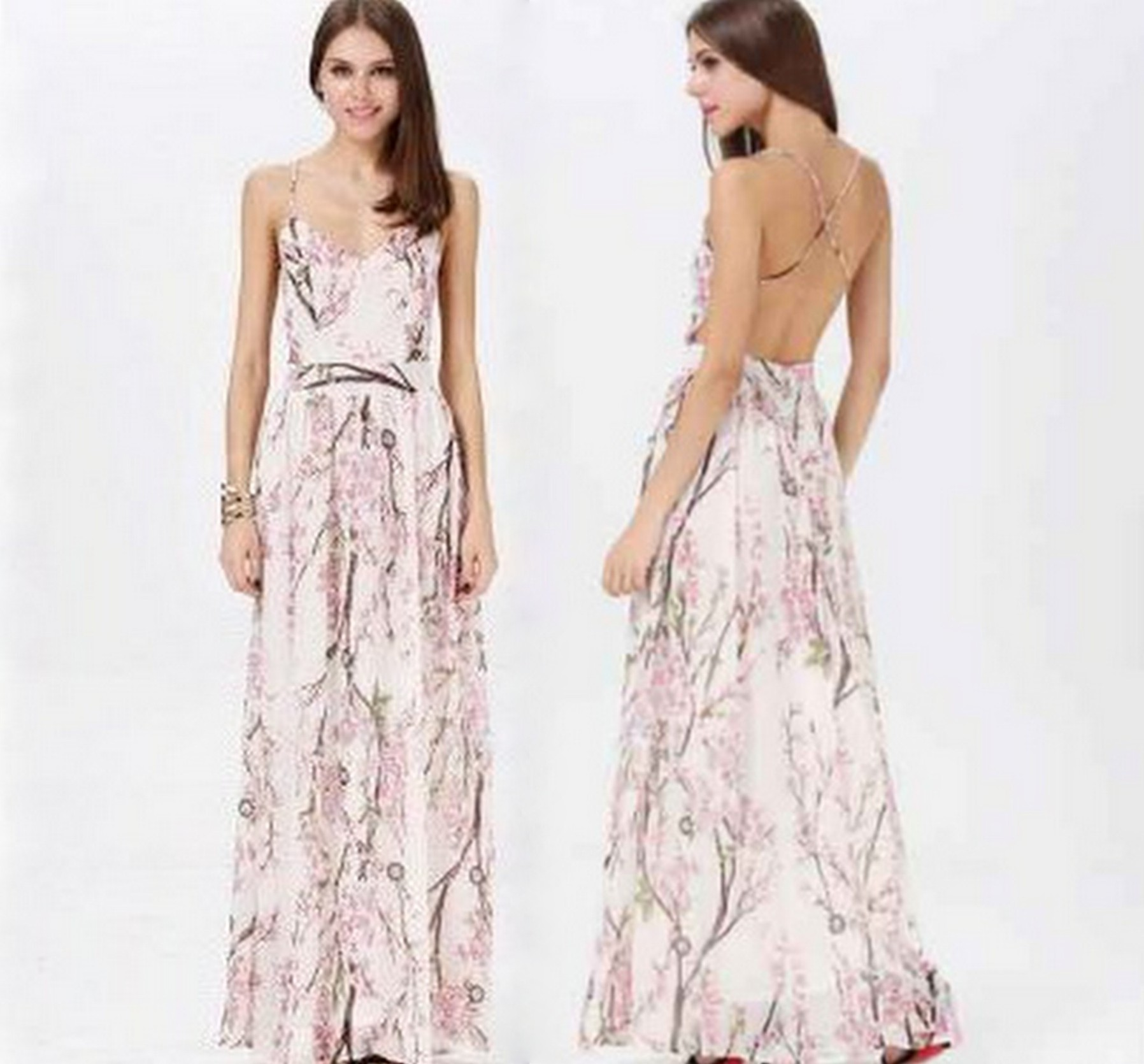Cherry blossom floral print backless maxi dress · fashion struck · online store powered by storenvy
