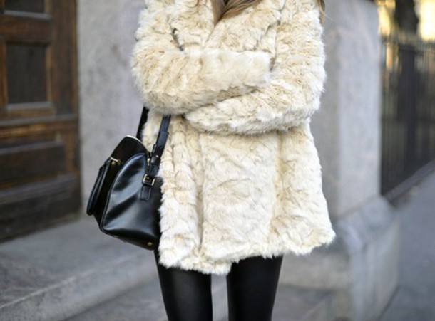 jacket fur coat white coat cream coat luxury