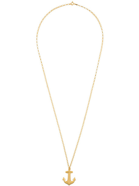 anchor women necklace gold grey metallic jewels