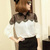 Women Casual Lace Chiffon Splicing Long Sleeve Elegant Blouse - CA$7.76