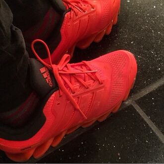 shoes adidas shoes sneakers red orange style spikes adidas
