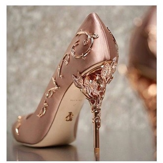 shoes rose gold heels &