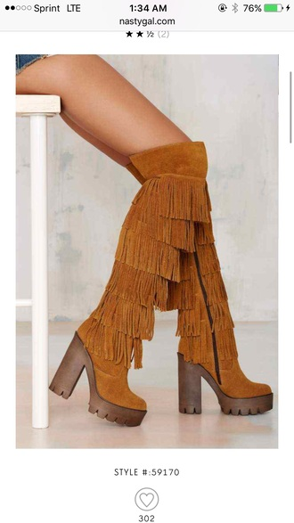 shoes fringe brown over the knee  boot suede thigh-high boots boots heel boots high heels boots over the knee boots fringes brown boots chunky sole chunky heels lug sole lug sole heels