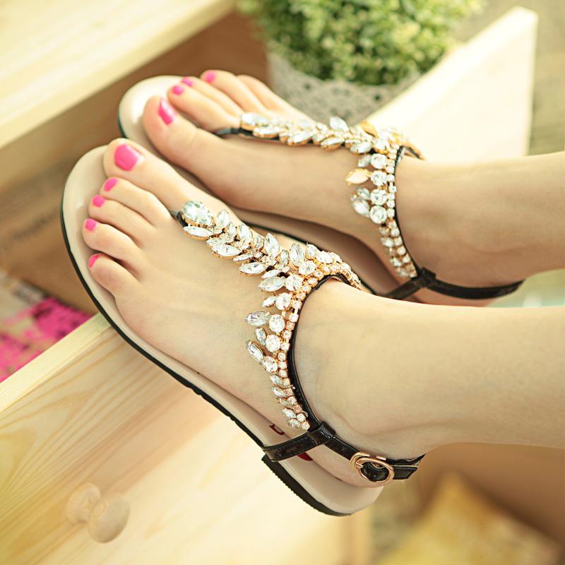 eee7a01aad2 2013 fashion sandals genuine leather flat heel women s flat low ...