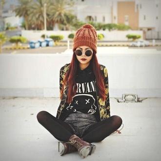 t-shirt sunglasses nirvana floral jacket
