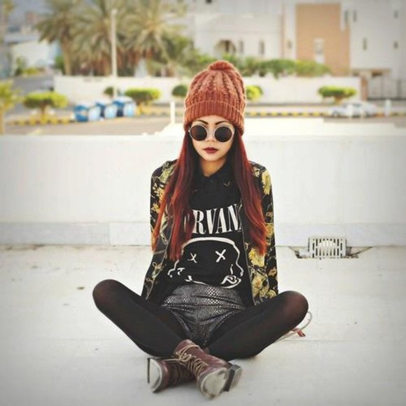 sunglasses t-shirt nirvana floral jacket