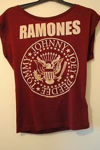 Ladies H&M Ramones Band T-Shirt Size 6 / 8 Burgundy White Print Sleeveless | eBay