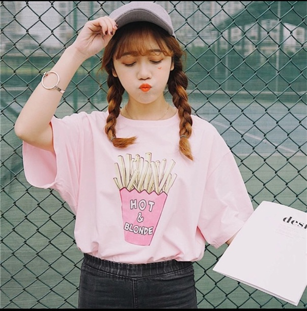 Shirt blonde hair ulzzang fries food food shirt spring outfits where to pink top pink ...