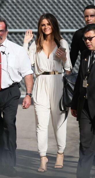 jumpsuit maria menounos plunge v neck spring outfits sandals white jumpsuit waist belt
