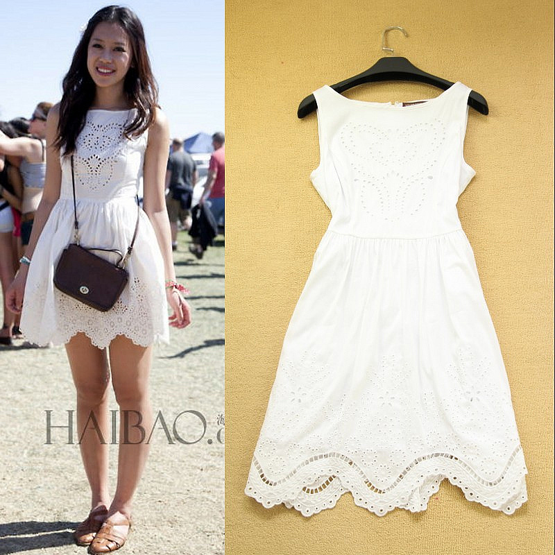 New In Street Summer Fashion Butterfly Embroidery Tank Dress Cutout Fancy Cotton Dresses Wear SS4150 High Quality-inDresses from Apparel & Accessories on Aliexpress.com