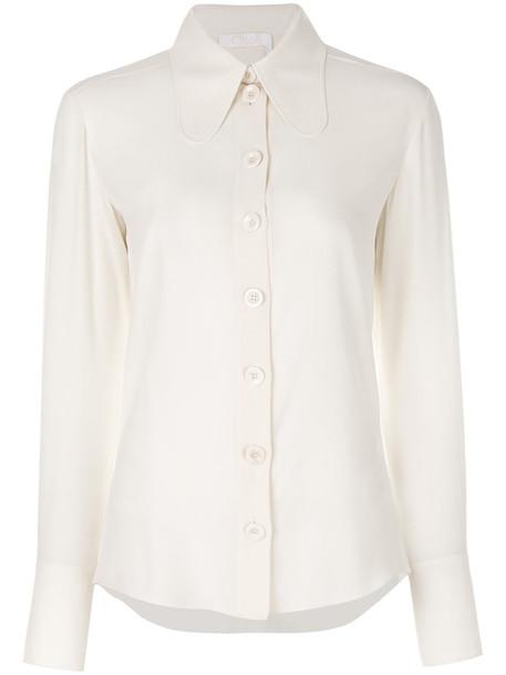 Chloé Chloé - elongated collar blouse - women - Silk - 40, White, Silk