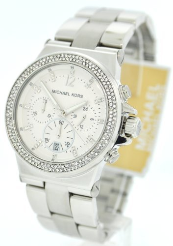 Bossy Watches | Michael Kors MK5385 Silver Tone Crystal Glitz Chronograph Womens Watch