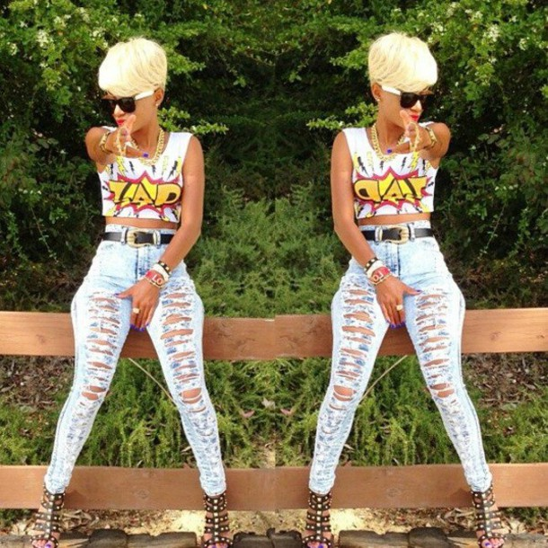 shirt crop tops red yellow ripped jeans jeans t-shirt graphic crop tops white