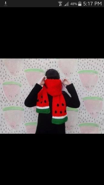 scarf funny watermelon print watermelon scarf