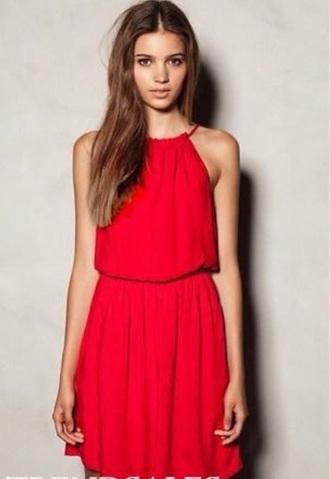 dress red short baggy baggy dress halterneck