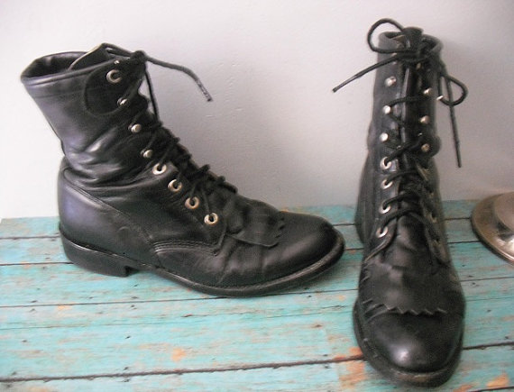 vintage Justin Black Leather Lace Up BOOTS Men's 6 Women's 8 Hipster Indie Grunge NeoLite on Wanelo