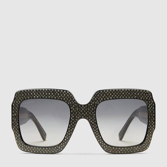 e3729c3a32796 Gucci Oversize square-frame rhinestone sunglasses