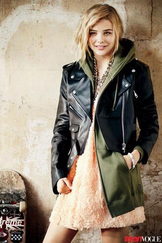 black pink green jacket chloe grace leathet jacket olive green skateboard sweatshirt