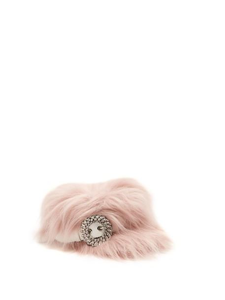 Miu Miu fur embellished hat fur hat pink