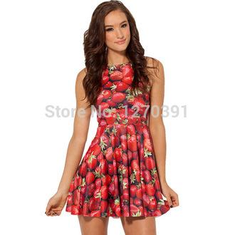 dress summer dress casual dress crewneck 3d sweatshirts strawberry dress printing patterned dress knee length dress sleeveless dress