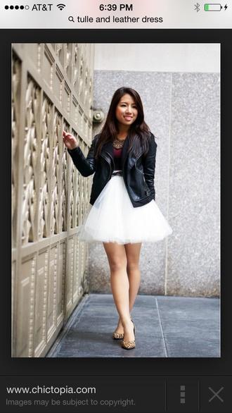 biker jacket cute sweaters leather jacket cream tulle skirt