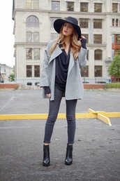 the boho flow,blogger,coat,top,shoes,draped,black top,black boots,felt hat,grey coat,hat