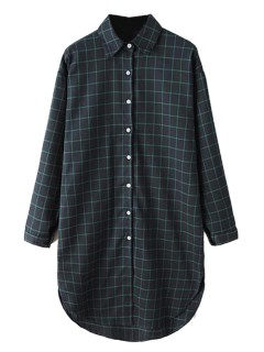 Dark blue plaid long sleeve longline shirt