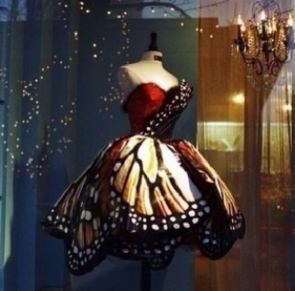 butterfly red dress black sleeveless spots pretty puffy dress white rusty brown