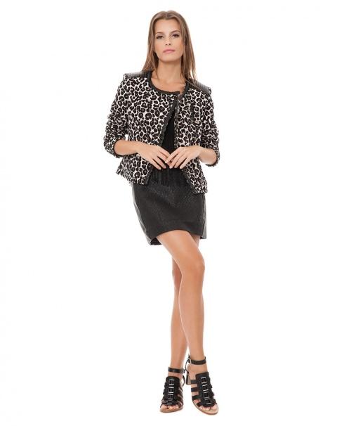 AMARO   Jaqueta Leather Leopard