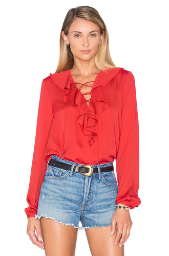blouse boho ruffle red top