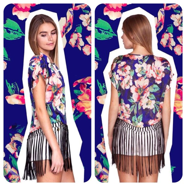 blouse fringe blouse fringes floral t-shirt fringe floral blouse