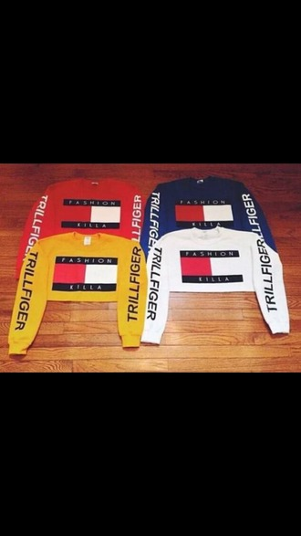 shirt tommy hilfiger red white blue yellow sweatshirt