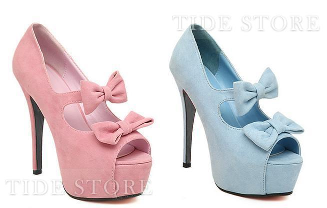 Sweet Suede Upper Peep-toe High Heels with  Bowknot: tidestore.com