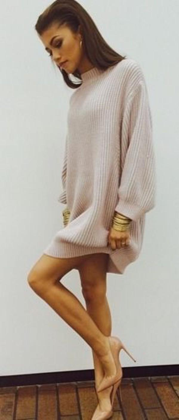 sweater dress nude sweater dress turtleneck fashion knitted cardigan knitwear zendaya oversized sweater knitted dress nude pink