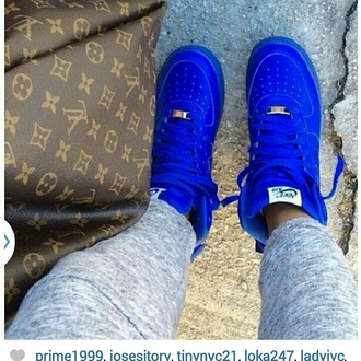 shoes blue shoes nike sneakers air force 1