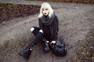 thelma malna blogger cardigan black ripped jeans grunge shoes grunge grey scarf infinity scarf