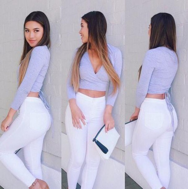 Jeans: white, high rise, fashion, pants, denim, top - Wheretoget