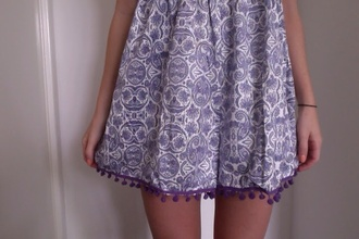skirt purple pom poms tumblr tumblr girl tumblr clothes patterned skirt cute boho soft grunge